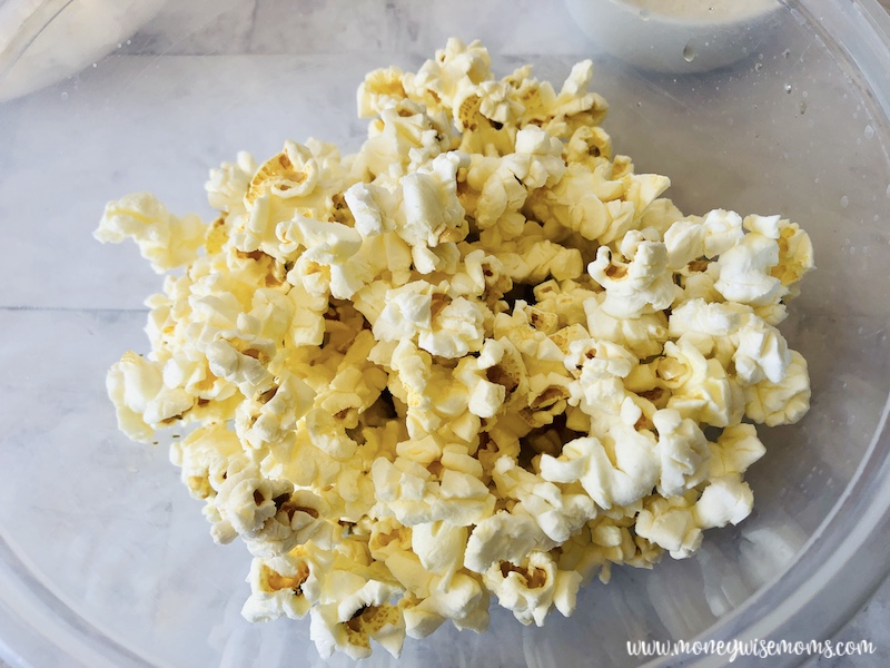 Popcorn in a bowl ready to be dressed.
