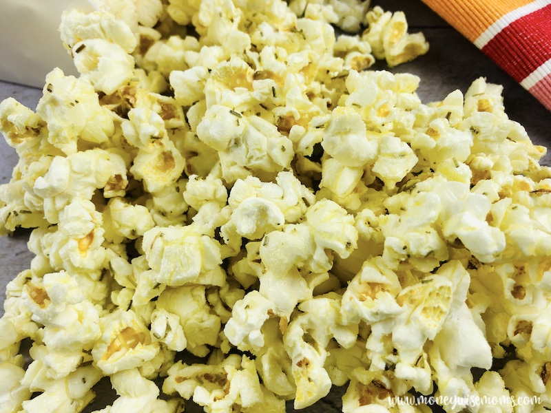 Close up of the finished rosemary parmesan popcorn ready to eat.