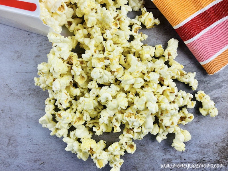 Finished rosemary parmesan popcorn ready to eat.