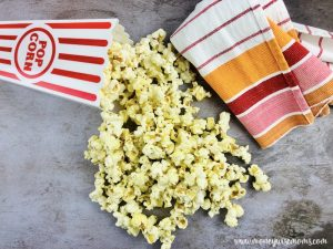 Featured image showing the finished rosemary parmesan popcorn.
