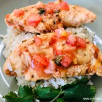 featured image showing the finished salsa slow cooker chicken.