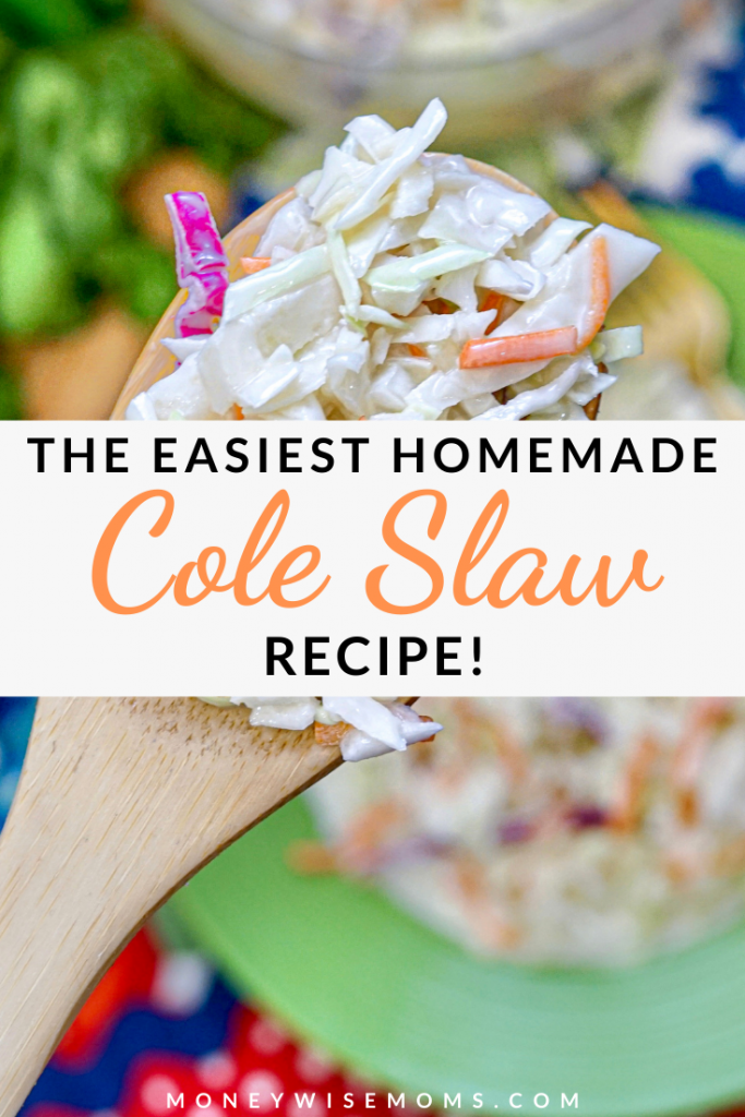 A pin showing the finished cole slaw and the title across the middle.