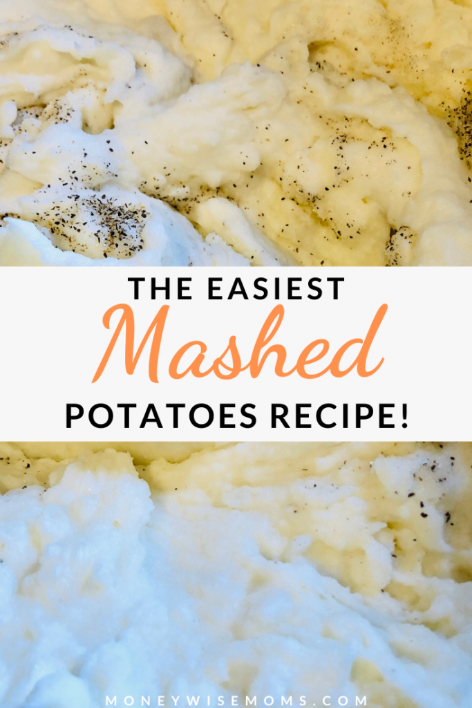 pin showing the finished homemade mashed potatoes recipe ready to eat.