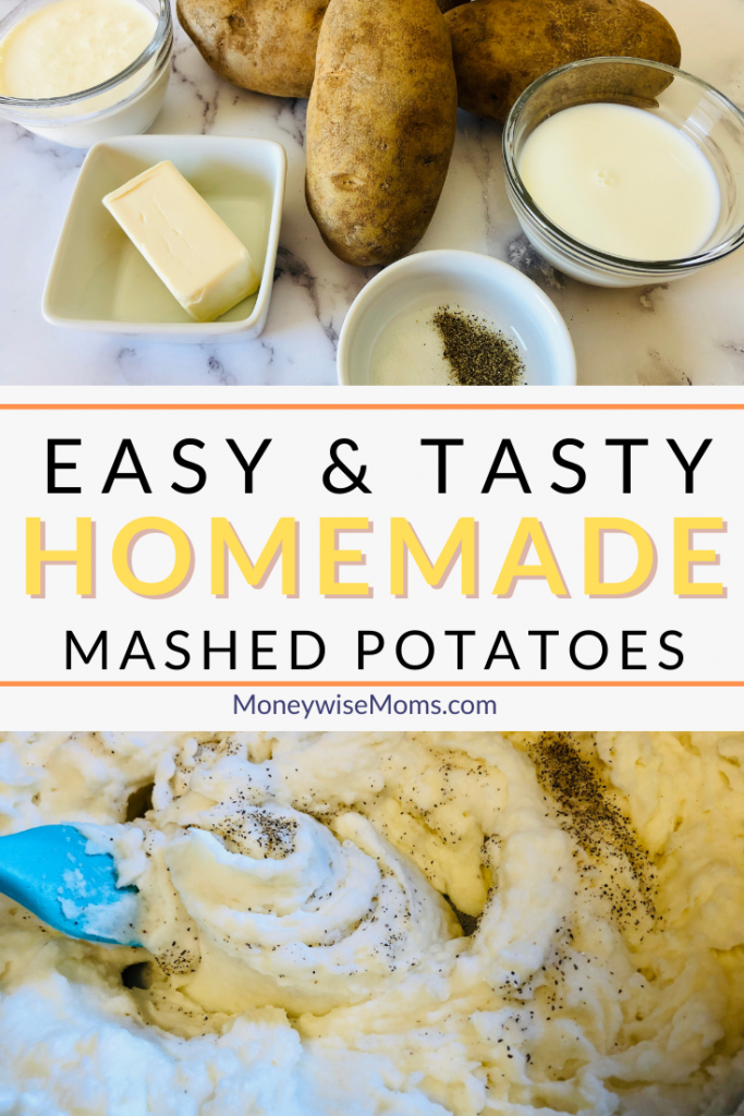 another pin showing the finished mashed potatoes and the ingredients with the title across the middle.