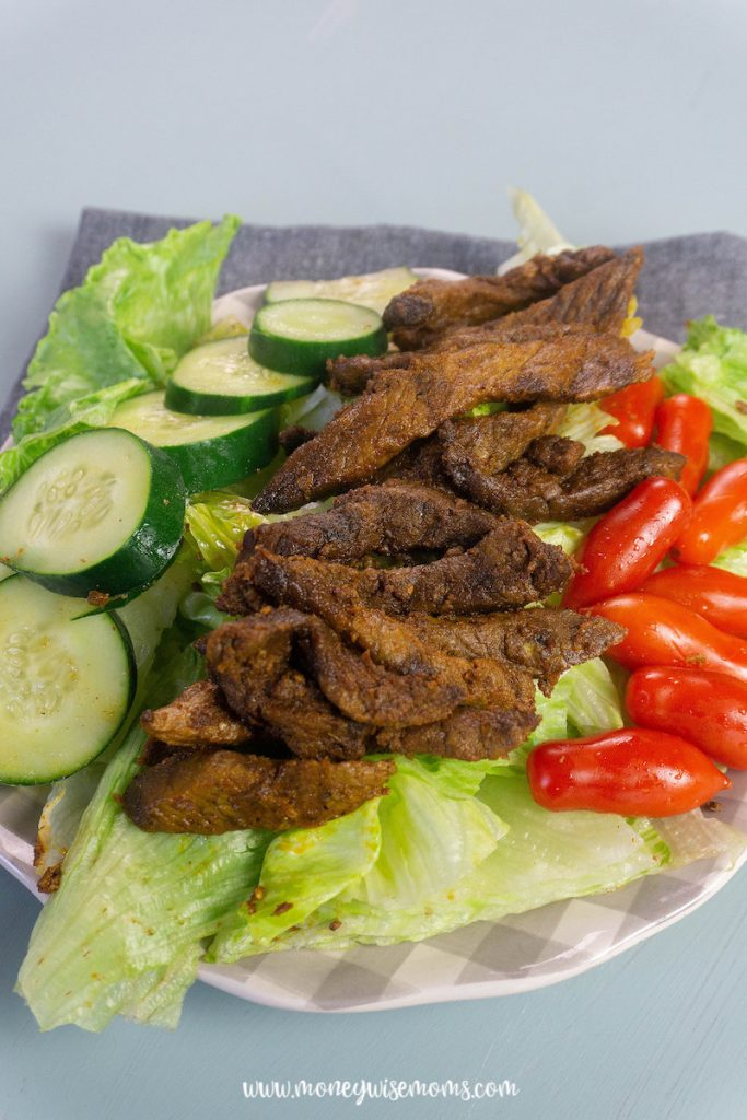 The finished beef shawarma ready to eat.