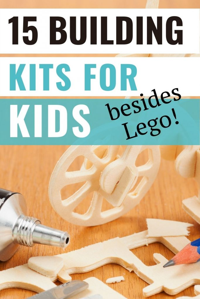 Building kits for kids besides Lego - wooden bicycle kit with glue and pencil