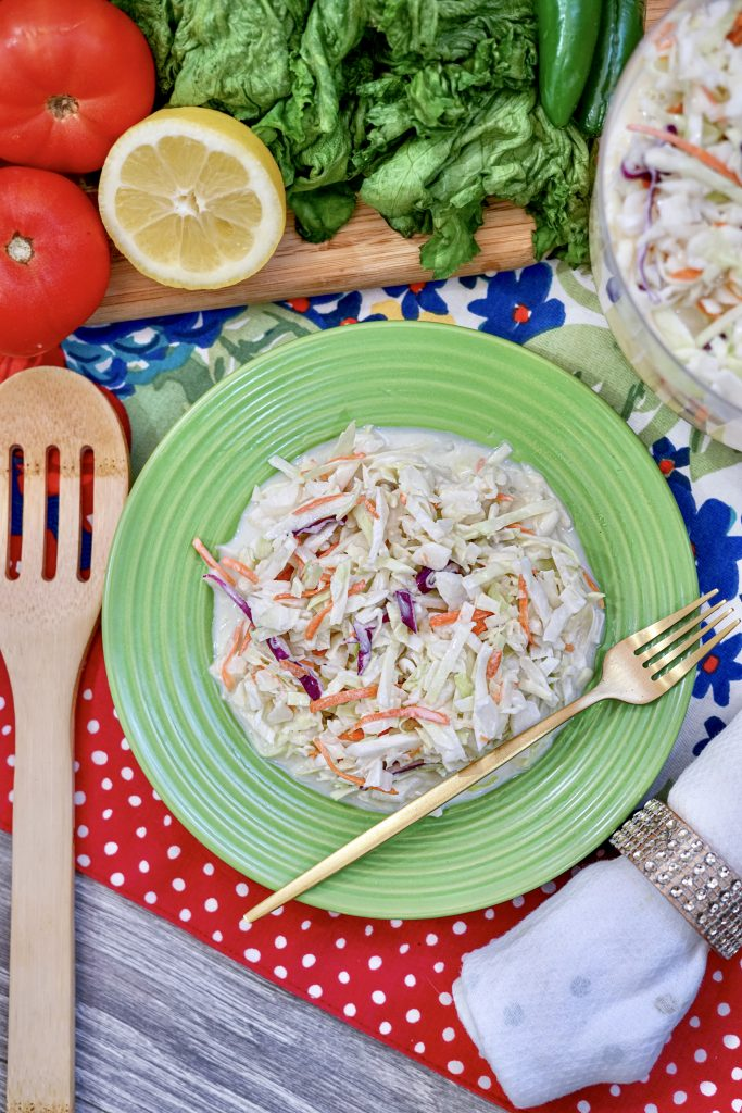 A full bowl of the finished easy cole slaw recipe.