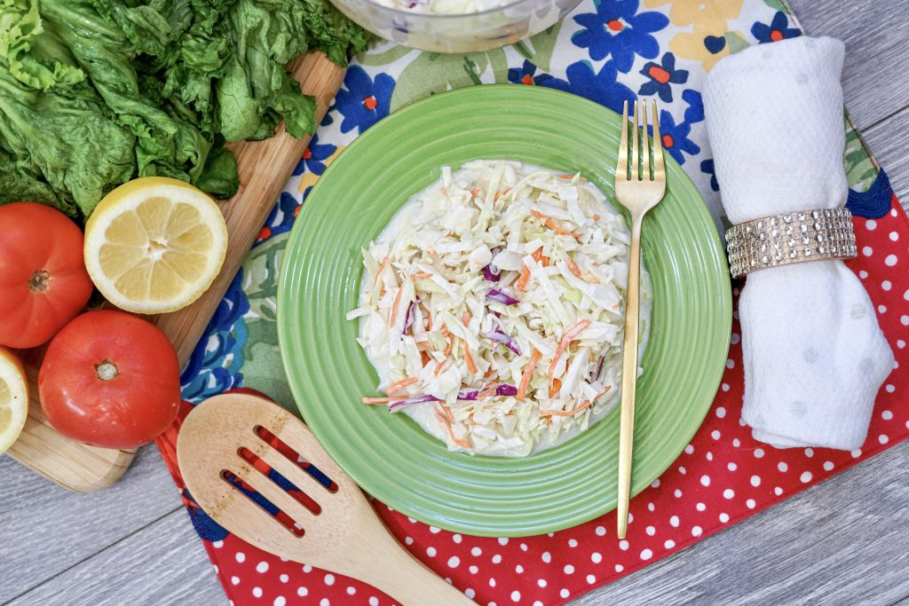 A top down look at the finished cole slaw ready to eat.