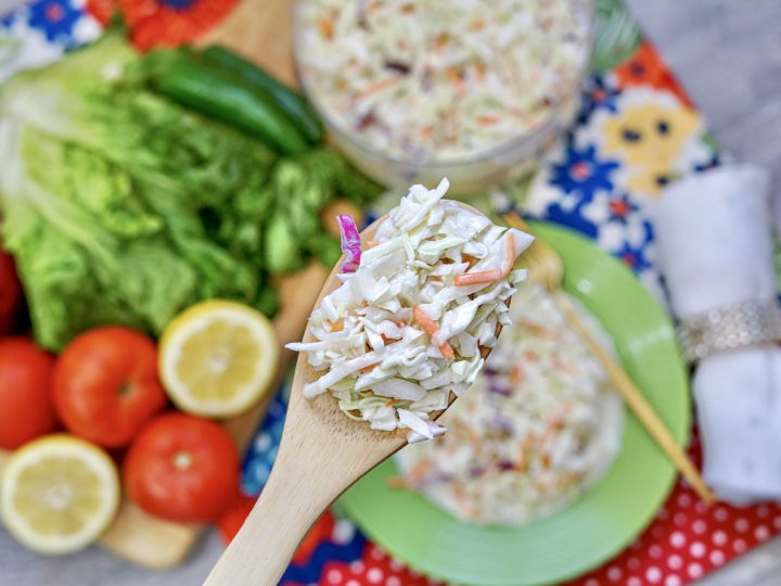 Featured image showing the finished easy cole slaw recipe