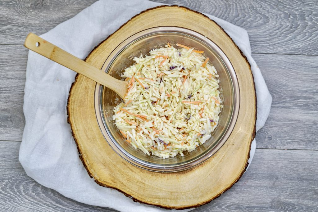 Coleslaw mixed with dressing and ready to eat.