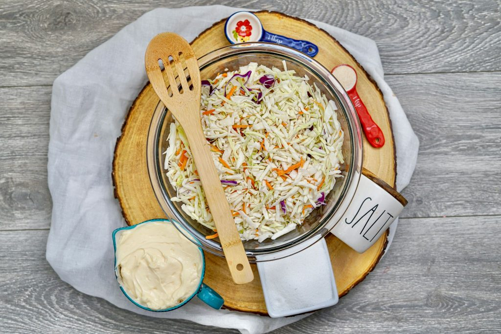cole slaw in a bowl ready to be topped with dressing.