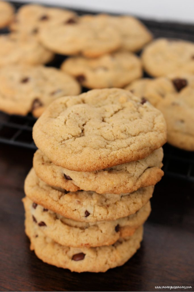 A stack of the finished egg free dairy free chocolate chip cookies.