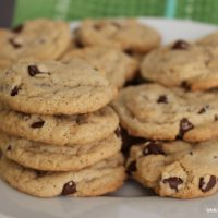 Plate full of the finished egg free dairy free chocolate chip cookies.