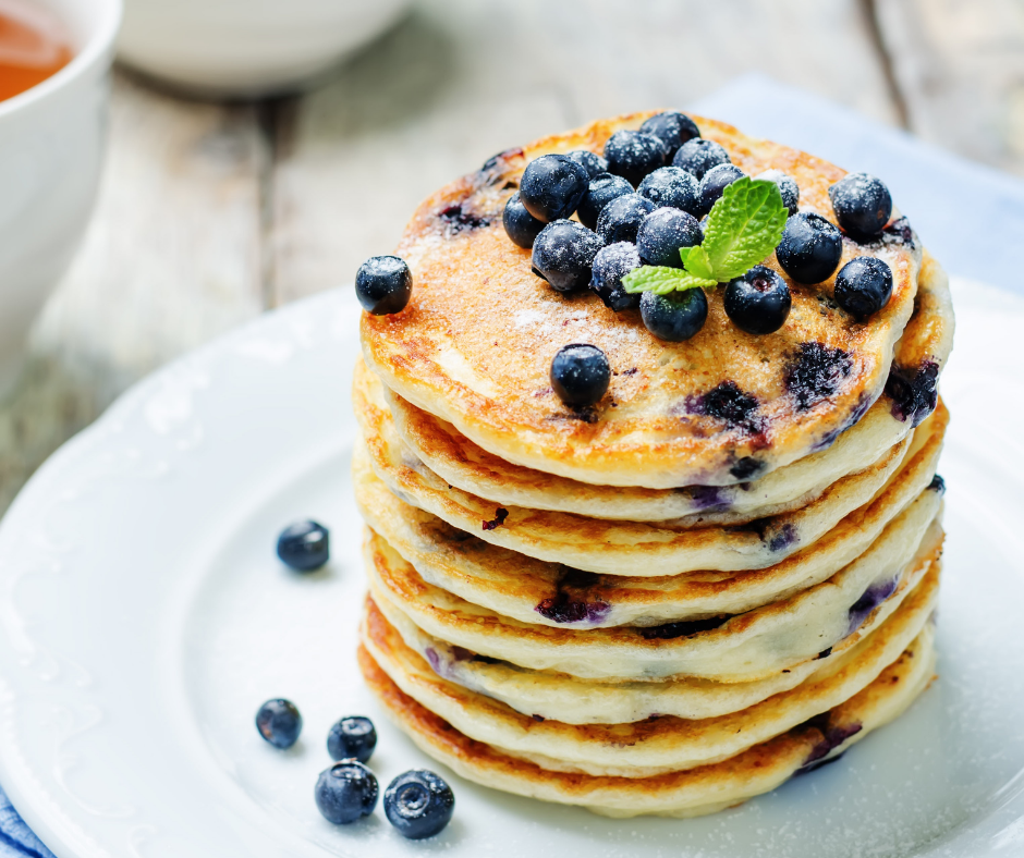 featured image showing easy blueberry recipes for pancakes.