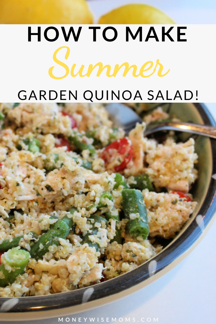 another pin showing the title of how to make summer garden quinoa salad with a photo of the finished salad ready to eat.