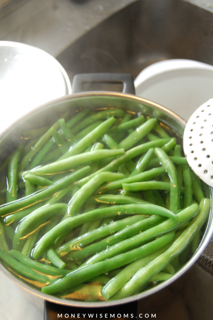 blanched green beans.