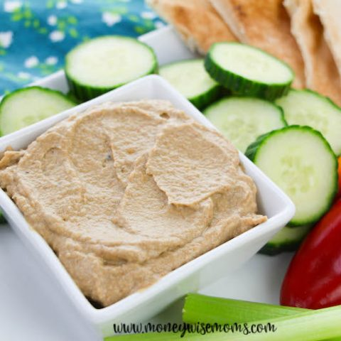 featured image showing the recipe for roasted eggplant dip finished and ready to serve.