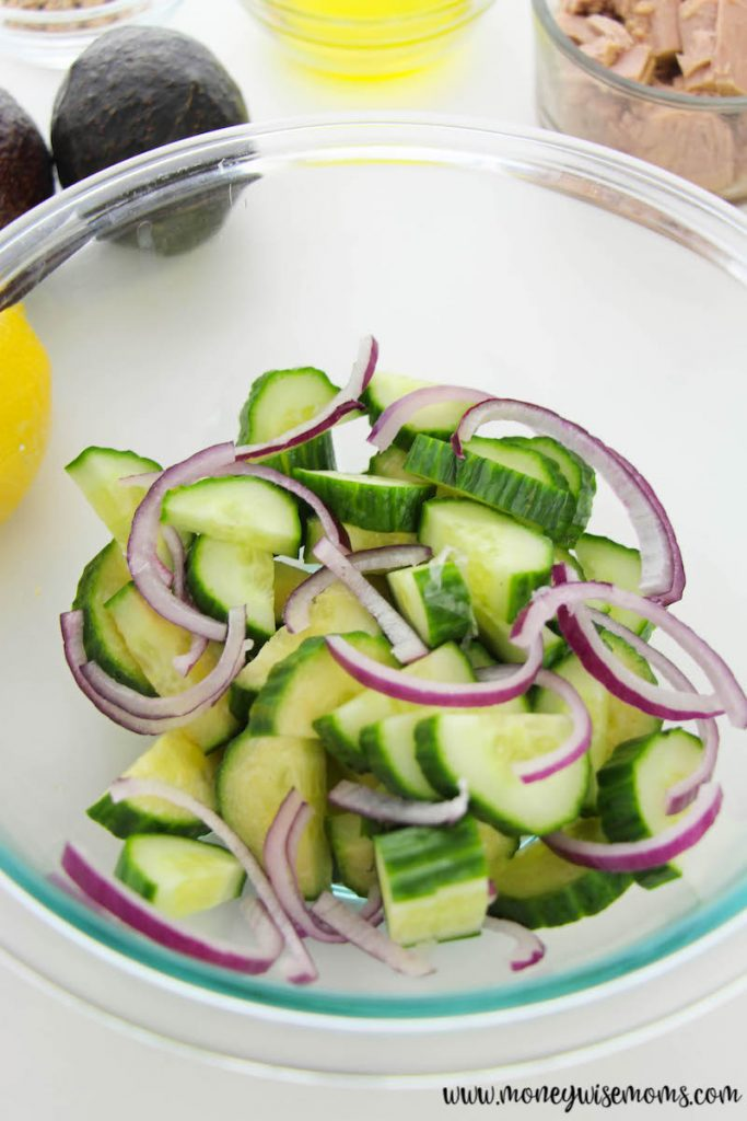 red onion added to the bowl.