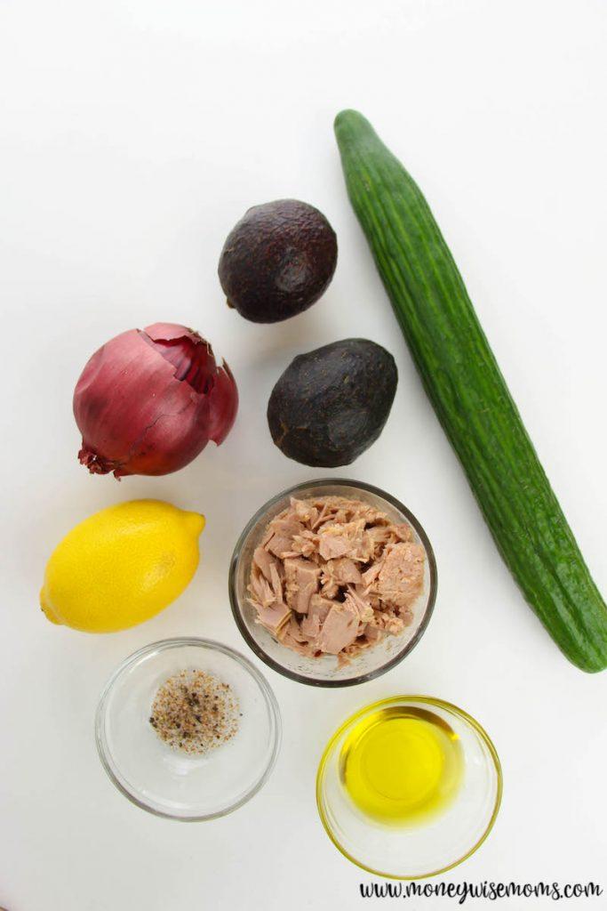ingredients needed to make cucumber tuna avocado salad recipe.