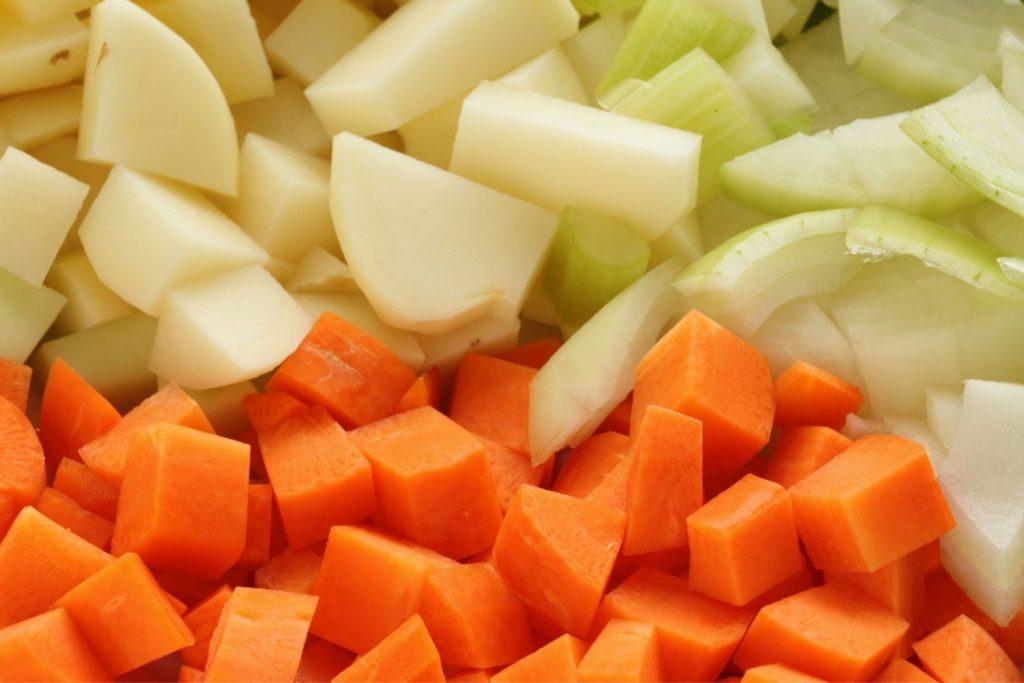 chopped carrot celery and potato