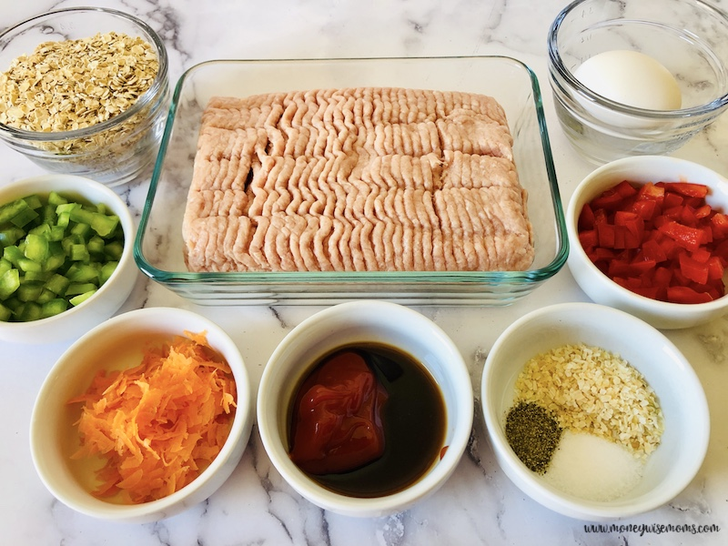 Ingredients needed to make meatloaf with no breadcrumbs ready to eat.