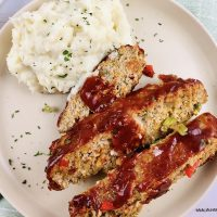 Finished recipe for meatloaf with no breadcrumbs ready to eat.