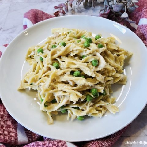 Featured image showing the finished one pot tuna with noodles recipe ready to eat.