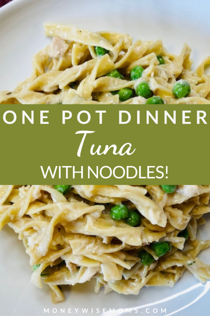pin showing the finished one pot tuna with noodles recipe ready to eat.