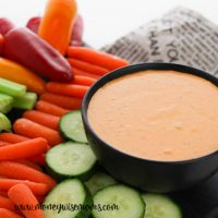 featured image showing the finished creamy roasted red pepper dip.