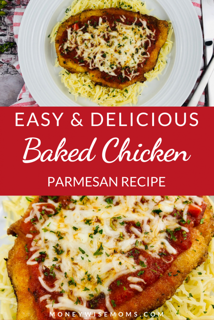 Pin showing images of the finished recipe for baked chicken parmesan ready to enjoy title across the middle
