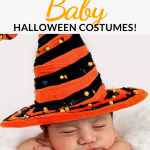 Pin showing baby in a halloween costume and post title across the top.