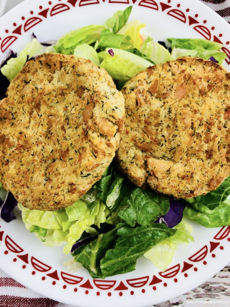 a close up of the finished easy recipe for salmon patties ready to eat.