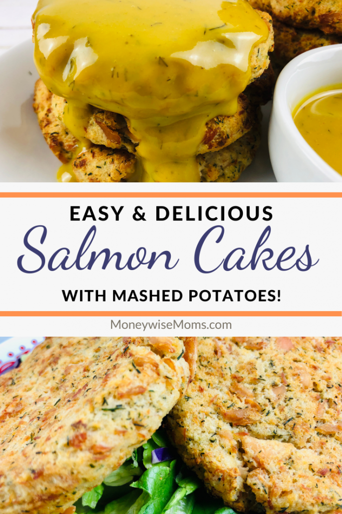 Pin showing the easy recipe for salmon patties ready to eat.