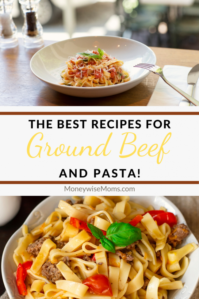 another pin showing two images of ground beef pasta recipes with title across the middle.