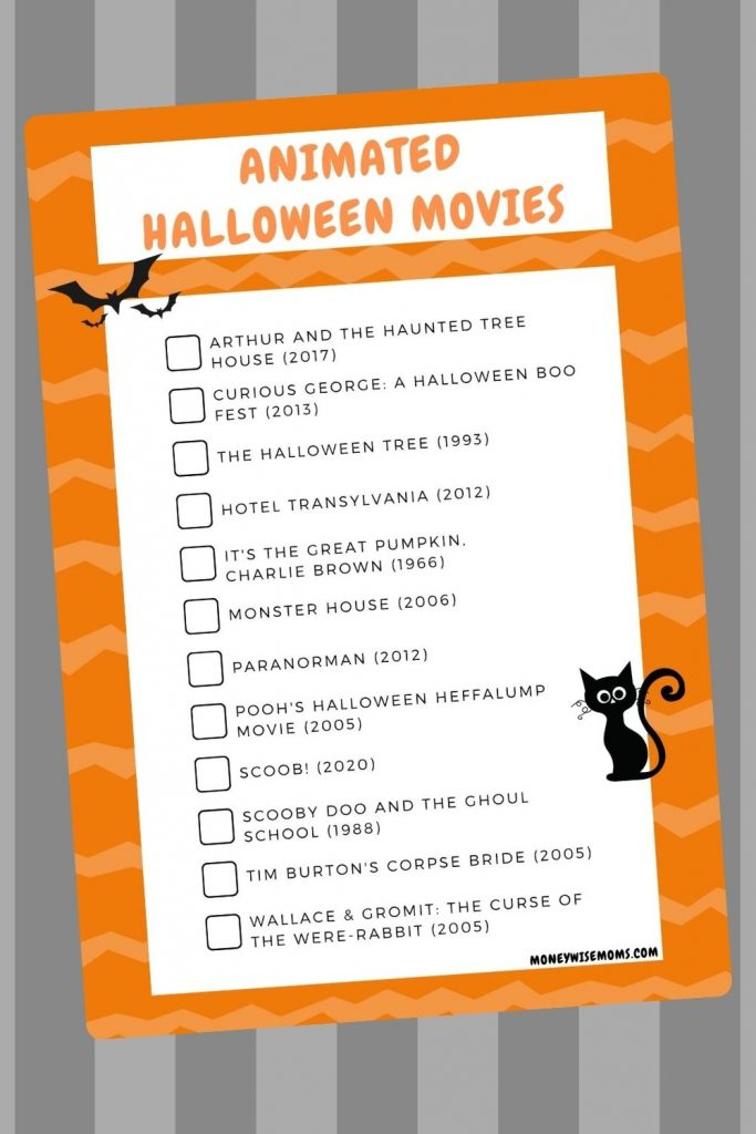 Halloween movies animated for kids - not scary halloween movies list printable
