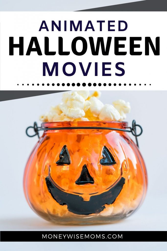 Halloween movies animated for kids - jack o lantern filled with popcorn for family movie night