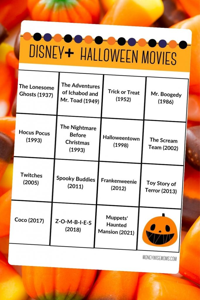 Printable list of Disney Plus Halloween Movies for family movie night