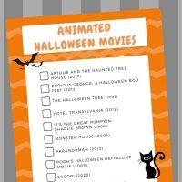Printable Halloween Animated Movies SQ