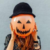 Teen with Halloween balloon