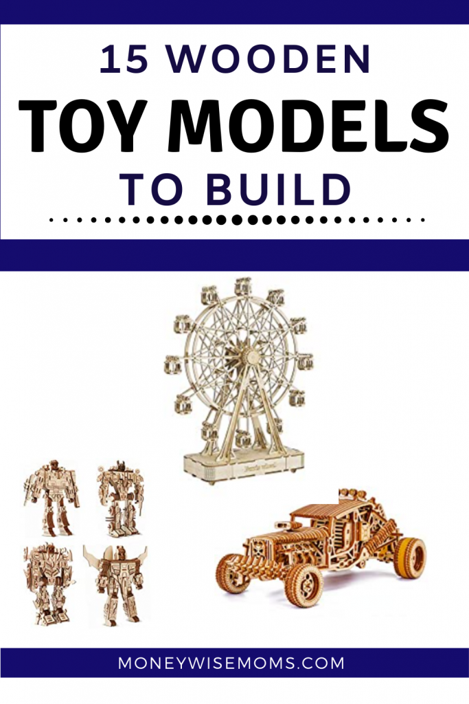 wooden toy kits to build - car kit robot kit and ferris wheel wooden building kit