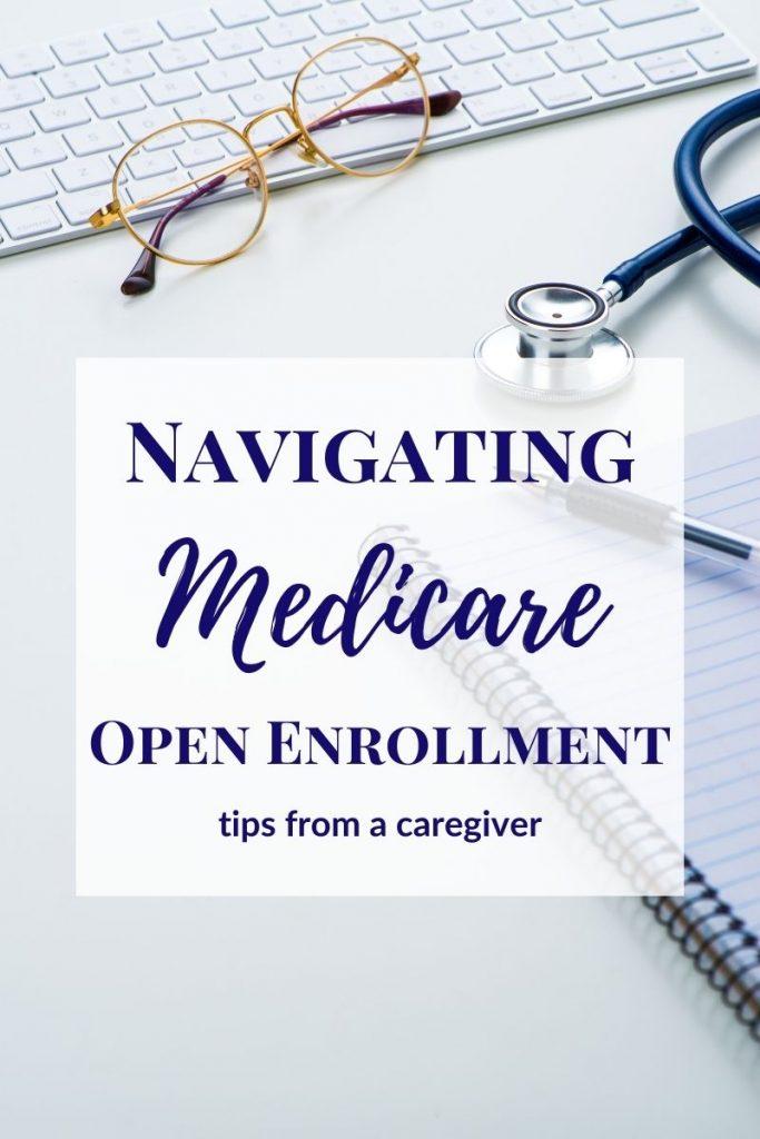 glasses stethoscope and notebook on white desk - Medicare open enrollment